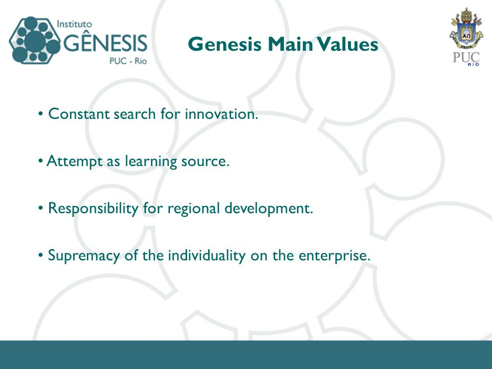Constant search for innovation. Attempt as learning source. Responsibility for regional development. Supremacy of the individuality on the enterprise.