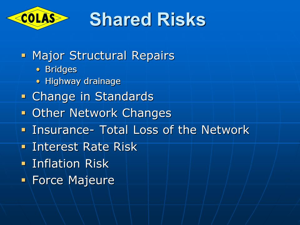 Shared Risks Shared Risks Major Structural Repairs Major Structural Repairs BridgesBridges Highway drainageHighway drainage Change in Standards Change in Standards Other Network Changes Other Network Changes Insurance- Total Loss of the Network Insurance- Total Loss of the Network Interest Rate Risk Interest Rate Risk Inflation Risk Inflation Risk Force Majeure Force Majeure