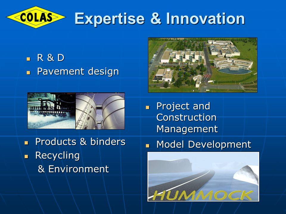 R & D R & D Pavement design Pavement design Project and Construction Management Project and Construction Management Model Development Model Development Products & binders Products & binders Recycling Recycling & Environment & Environment Expertise & Innovation Expertise & Innovation