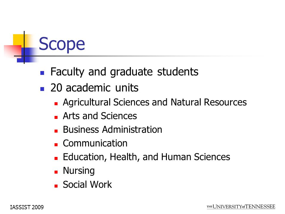IASSIST 2009 Scope Faculty and graduate students 20 academic units Agricultural Sciences and Natural Resources Arts and Sciences Business Administration Communication Education, Health, and Human Sciences Nursing Social Work