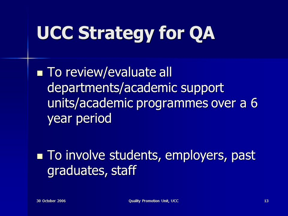 30 October 2006Quality Promotion Unit, UCC13 UCC Strategy for QA To review/evaluate all departments/academic support units/academic programmes over a
