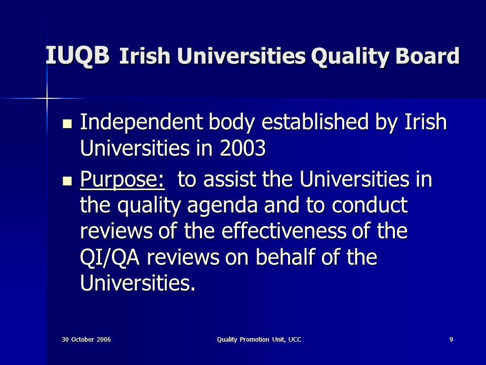 30 October 2006Quality Promotion Unit, UCC30 Web sites http://www.ucc.ie/quality http://www.ucc.ie/quality http://www.ucc.ie/quality http://www.iuqb.ie http://www.iuqb.ie