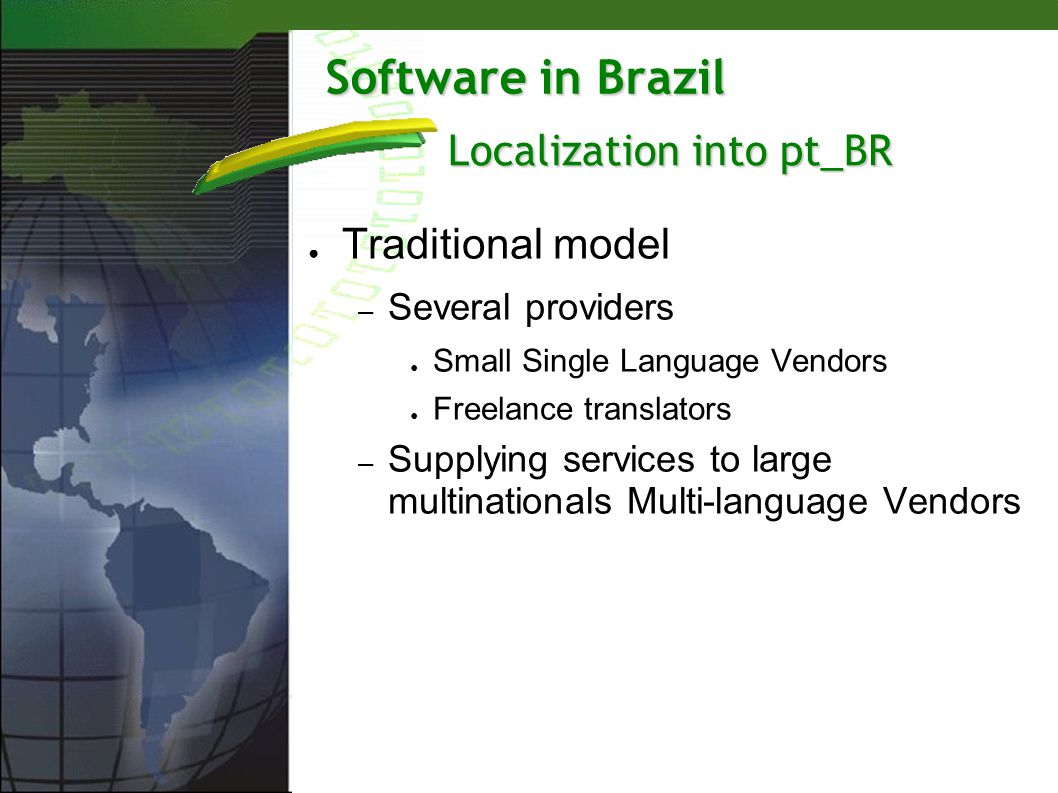 Software in Brazil Traditional model – Several providers Small Single Language Vendors Freelance translators – Supplying services to large multination