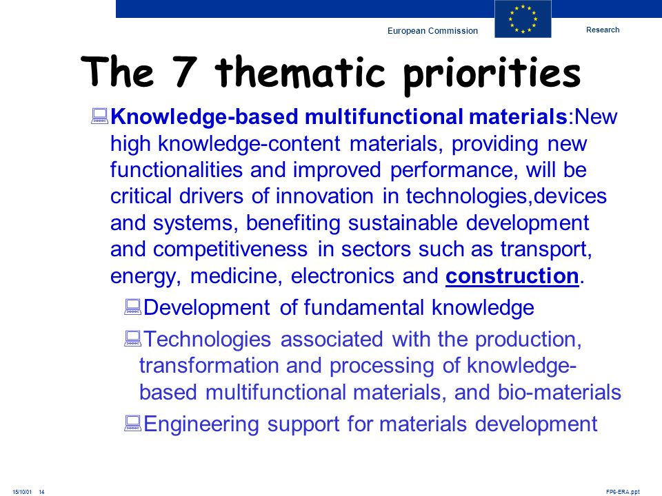 Research European Commission FP6-ERA.ppt15/10/01 14 Knowledge-based multifunctional materials:New high knowledge-content materials, providing new func