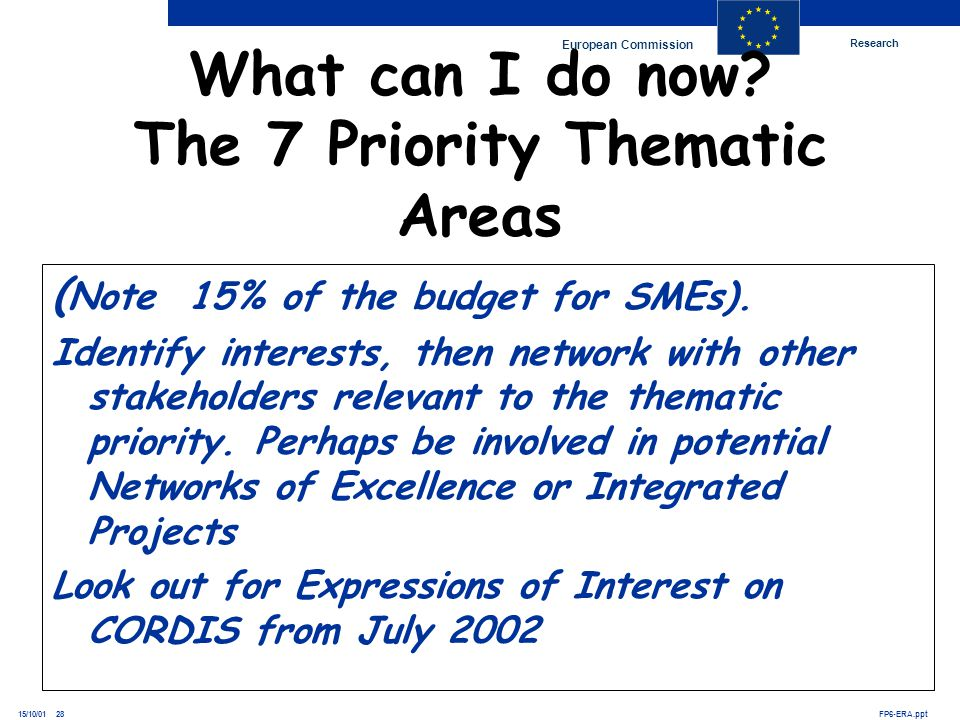 Research European Commission FP6-ERA.ppt15/10/01 28 What can I do now? The 7 Priority Thematic Areas ( Note 15% of the budget for SMEs). Identify inte