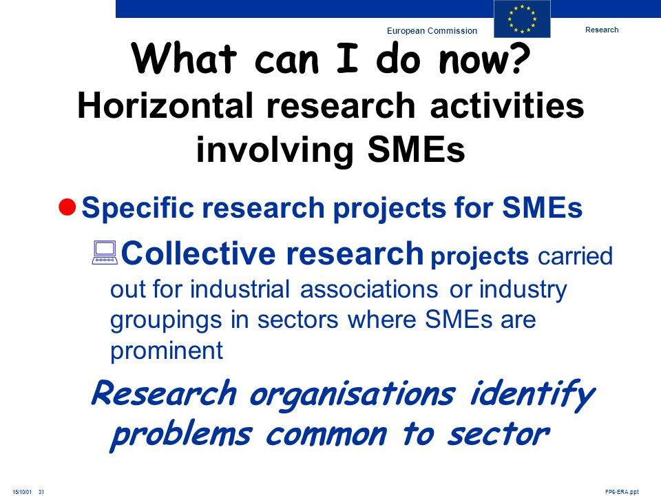 Research European Commission FP6-ERA.ppt15/10/01 31 Specific research projects for SMEs Collective research projects carried out for industrial associ
