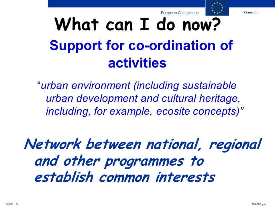 Research European Commission FP6-ERA.ppt15/10/01 34 urban environment (including sustainable urban development and cultural heritage, including, for e