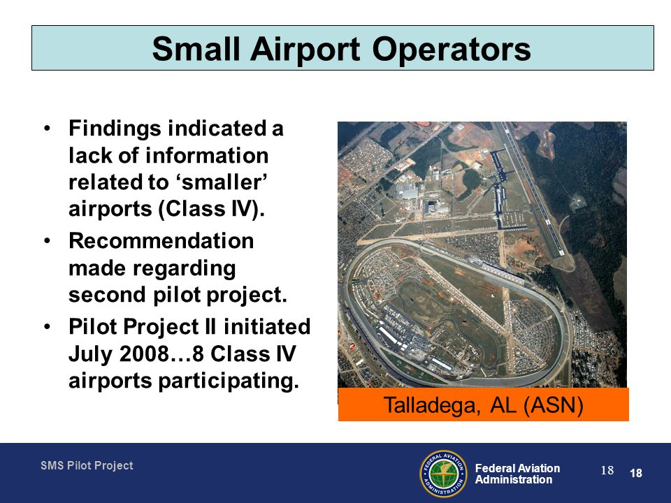 18 Federal Aviation Administration SMS Pilot Project 18 Small Airport Operators Findings indicated a lack of information related to smaller airports (Class IV).