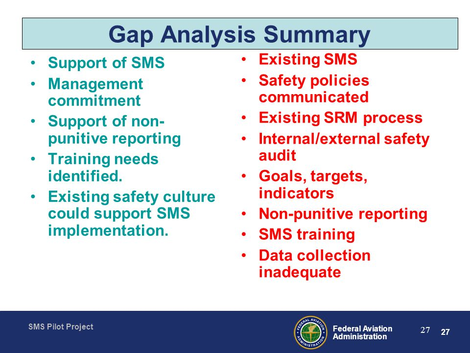 27 Federal Aviation Administration SMS Pilot Project 27 Gap Analysis Summary Support of SMS Management commitment Support of non- punitive reporting Training needs identified.