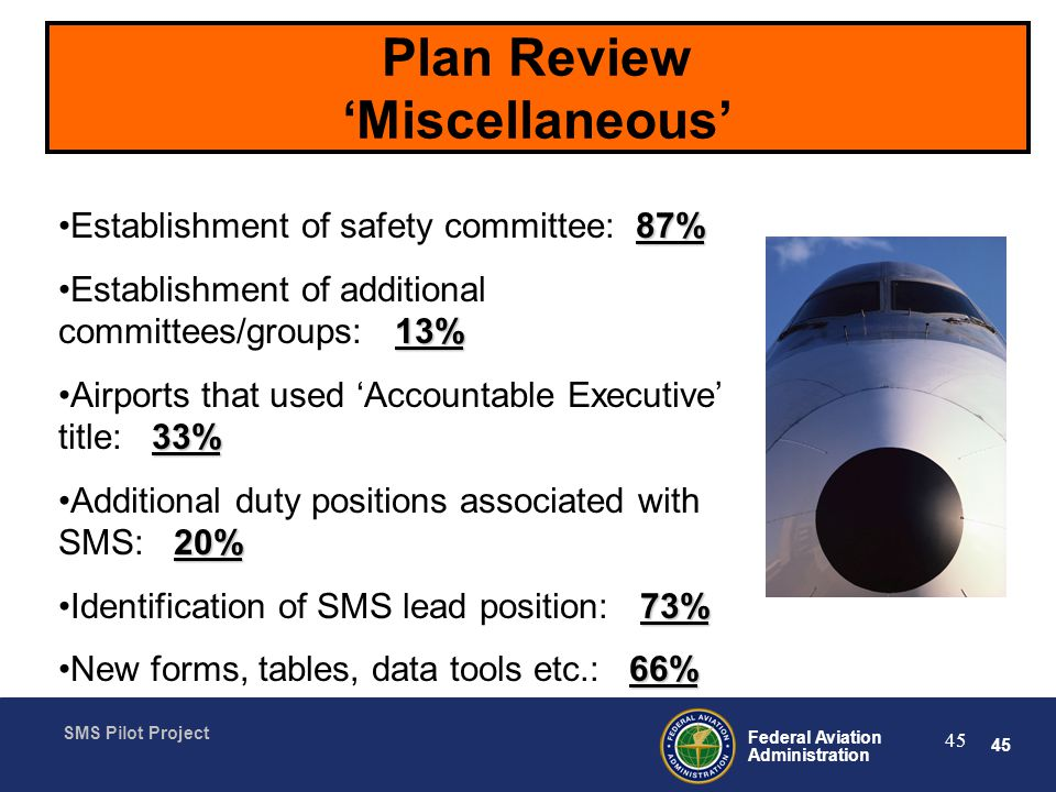 45 Federal Aviation Administration SMS Pilot Project 45 Plan Review Miscellaneous 87%Establishment of safety committee: 87% 13%Establishment of additional committees/groups: 13% 33%Airports that used Accountable Executive title: 33% 20%Additional duty positions associated with SMS: 20% 73%Identification of SMS lead position: 73% 66%New forms, tables, data tools etc.: 66%