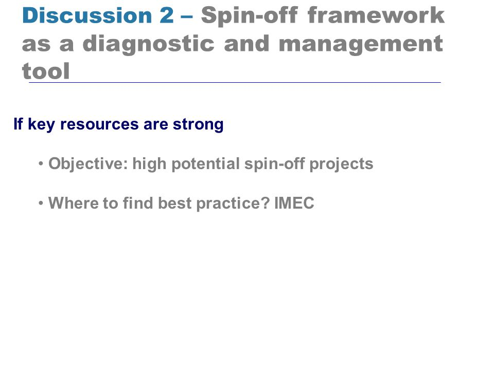 Discussion 2 – Spin-off framework as a diagnostic and management tool If key resources are strong Objective: high potential spin-off projects Where to