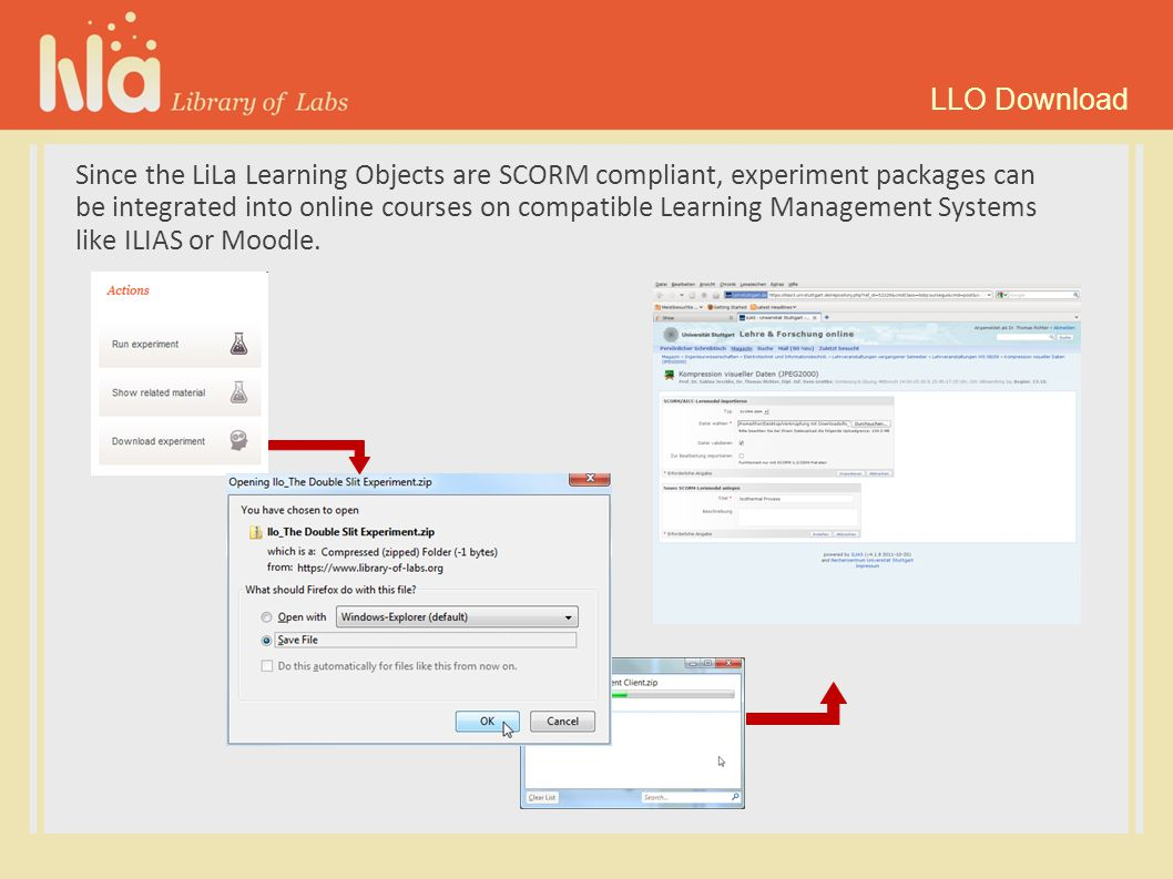 Since the LiLa Learning Objects are SCORM compliant, experiment packages can be integrated into online courses on compatible Learning Management Systems like ILIAS or Moodle.