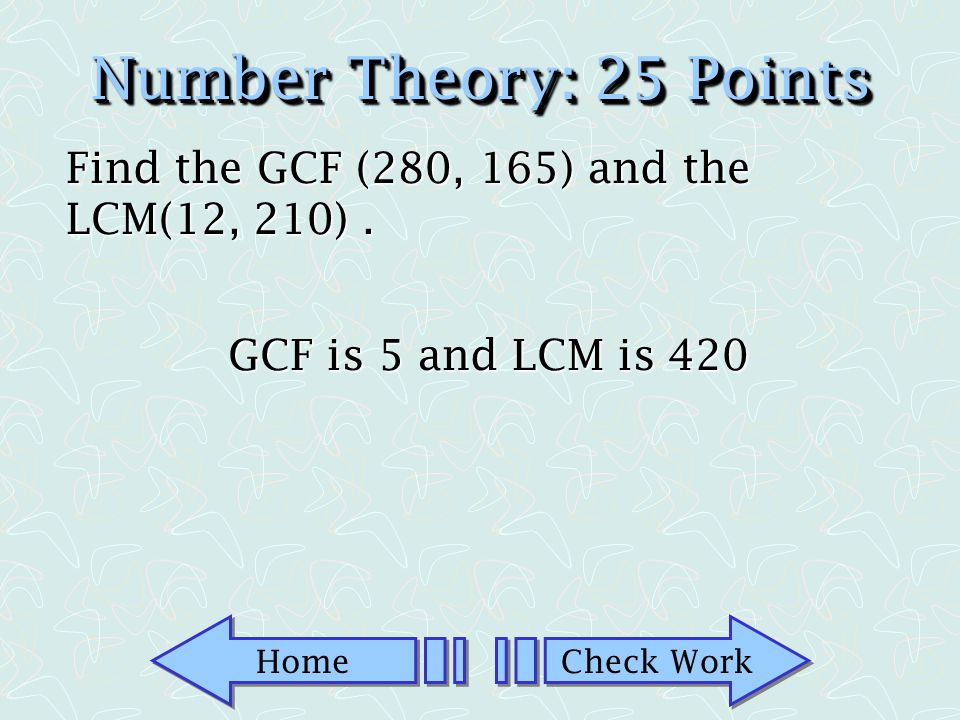 Home Check Work Number Theory: 10 Points Is 371 a prime number? No-it is a composite number.