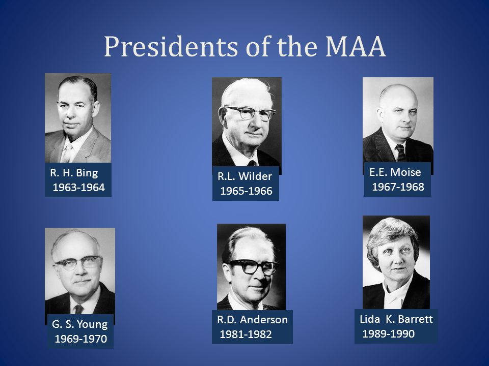Presidents of the MAA R.D. Anderson 1981-1982 Lida K.