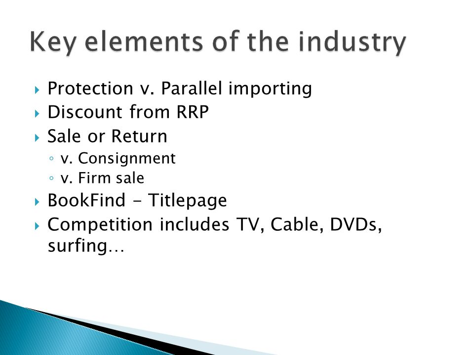 Protection v. Parallel importing Discount from RRP Sale or Return v. Consignment v. Firm sale BookFind - Titlepage Competition includes TV, Cable, DVD