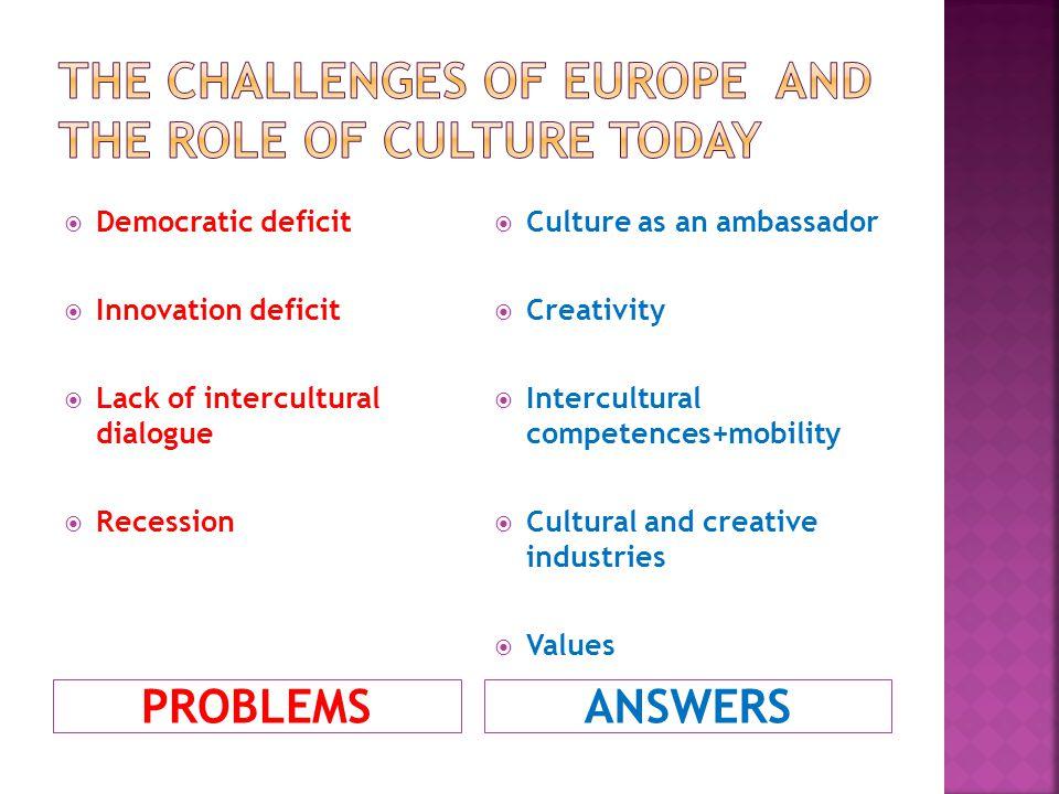 PROBLEMSANSWERS Democratic deficit Innovation deficit Lack of intercultural dialogue Recession Culture as an ambassador Creativity Intercultural compe