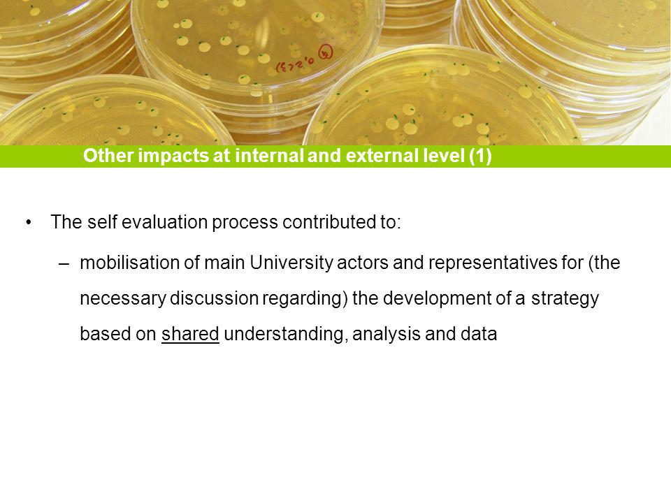 Other impacts at internal and external level (1) The self evaluation process contributed to: –mobilisation of main University actors and representatives for (the necessary discussion regarding) the development of a strategy based on shared understanding, analysis and data