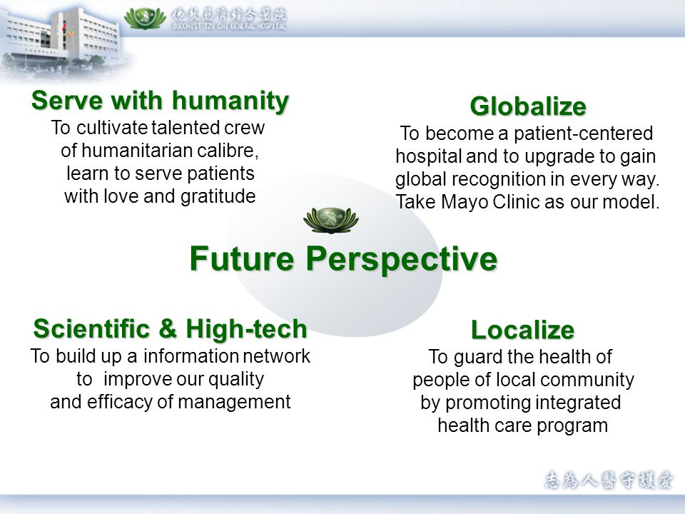 Serve with humanity To cultivate talented crew of humanitarian calibre, learn to serve patients with love and gratitude Future Perspective Globalize Globalize To become a patient-centered hospital and to upgrade to gain global recognition in every way.