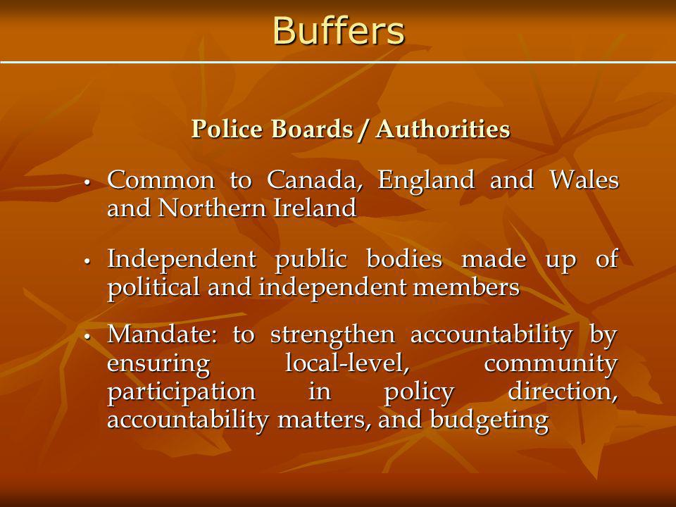 Building Civilian Oversight Creation of Police Boards / Authorities, or similar buffer bodies Creation of Police Boards / Authorities, or similar buffer bodies Eliciting public input in setting strategic direction and priorities for police, through policing plans for instance Eliciting public input in setting strategic direction and priorities for police, through policing plans for instance Bringing civilian input to appointment of police chief Bringing civilian input to appointment of police chief