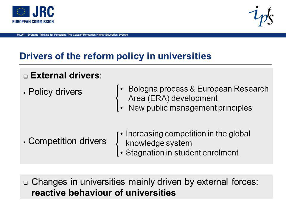 MLW 1: Systems Thinking for Foresight: The Case of Romanian Higher Education System Common emerging trends in Europe A.