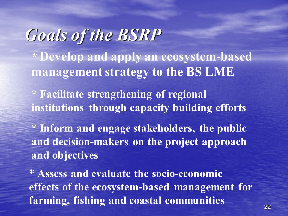 22 Goals of the BSRP * Facilitate strengthening of regional institutions through capacity building efforts * Assess and evaluate the socio-economic effects of the ecosystem-based management for farming, fishing and coastal communities * Inform and engage stakeholders, the public and decision-makers on the project approach and objectives * Develop and apply an ecosystem-based management strategy to the BS LME