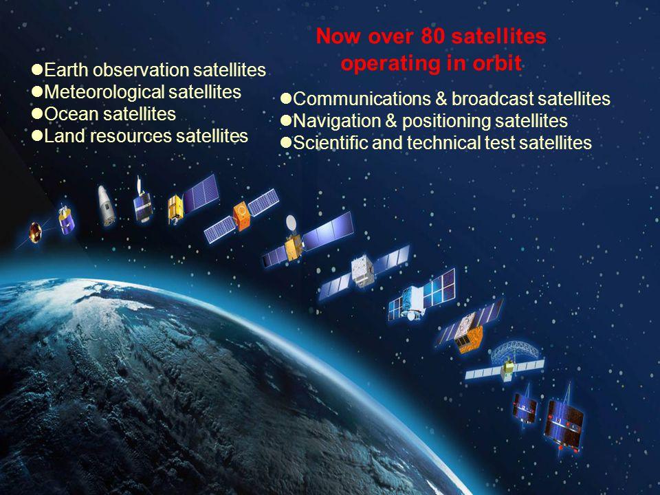 Earth observation satellites Meteorological satellites Ocean satellites Land resources satellites Communications & broadcast satellites Navigation & p