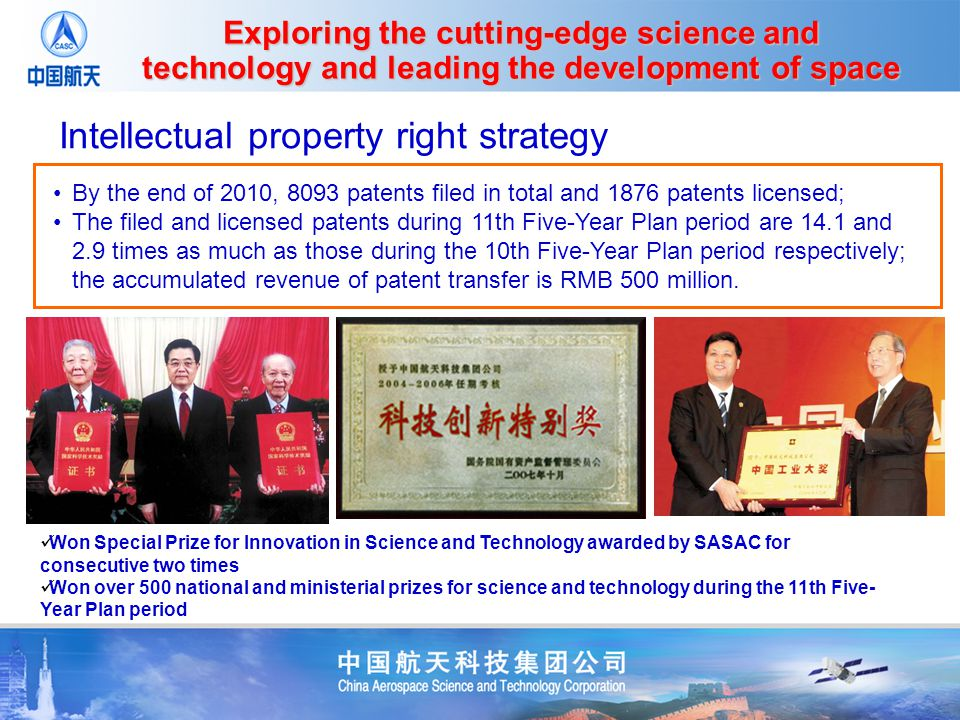 Won Special Prize for Innovation in Science and Technology awarded by SASAC for consecutive two times Won over 500 national and ministerial prizes for science and technology during the 11th Five- Year Plan period Intellectual property right strategy By the end of 2010, 8093 patents filed in total and 1876 patents licensed; The filed and licensed patents during 11th Five-Year Plan period are 14.1 and 2.9 times as much as those during the 10th Five-Year Plan period respectively; the accumulated revenue of patent transfer is RMB 500 million.