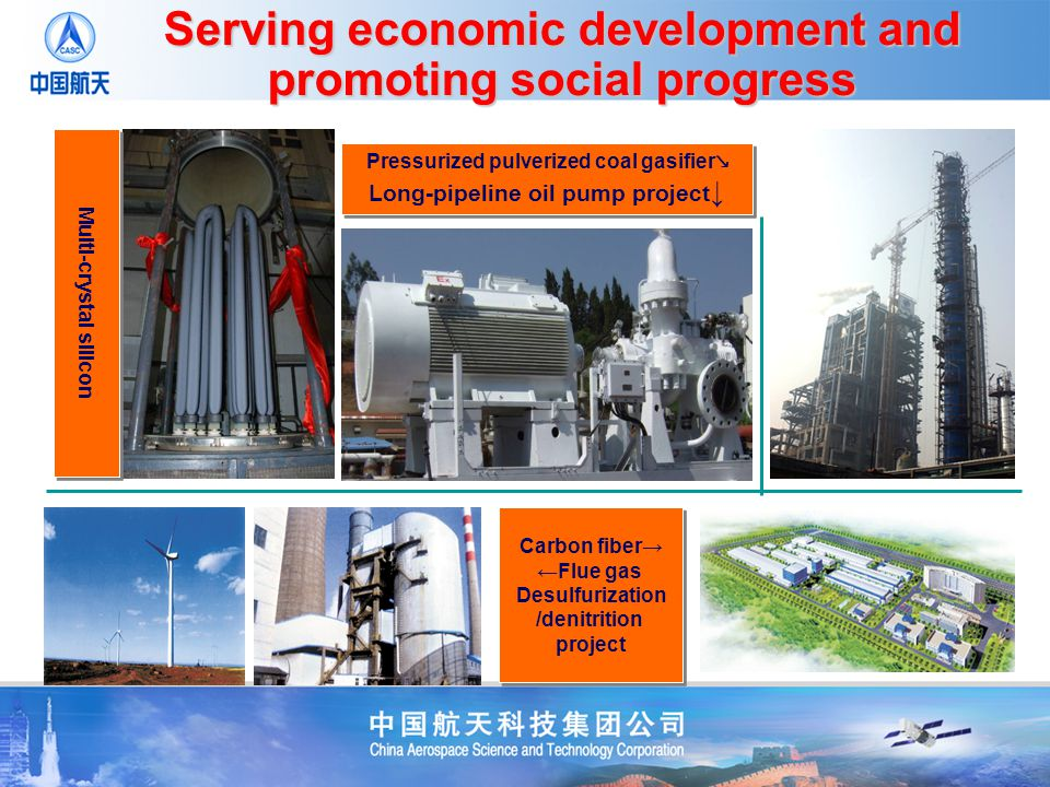 Carbon fiber Flue gas Desulfurization /denitrition project Carbon fiber Flue gas Desulfurization /denitrition project Pressurized pulverized coal gasifier Long-pipeline oil pump project Pressurized pulverized coal gasifier Long-pipeline oil pump project Multi-crystal silicon Serving economic development and promoting social progress