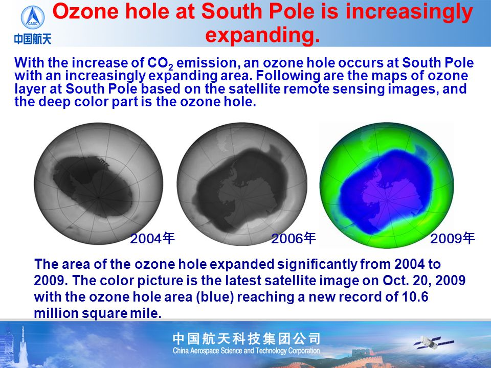 Ozone hole at South Pole is increasingly expanding. The area of the ozone hole expanded significantly from 2004 to 2009. The color picture is the late