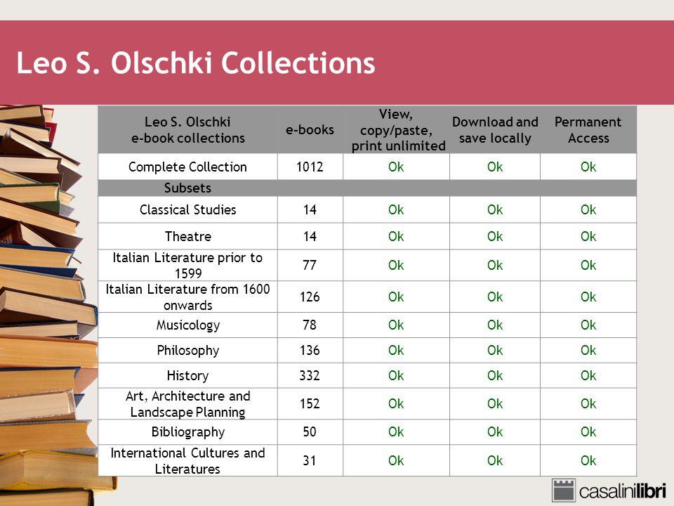 Leo S. Olschki Collections Leo S.