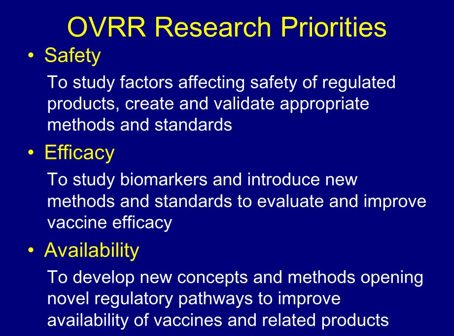 OVRR Research Priorities Safety To study factors affecting safety of regulated products, create and validate appropriate methods and standards Efficac