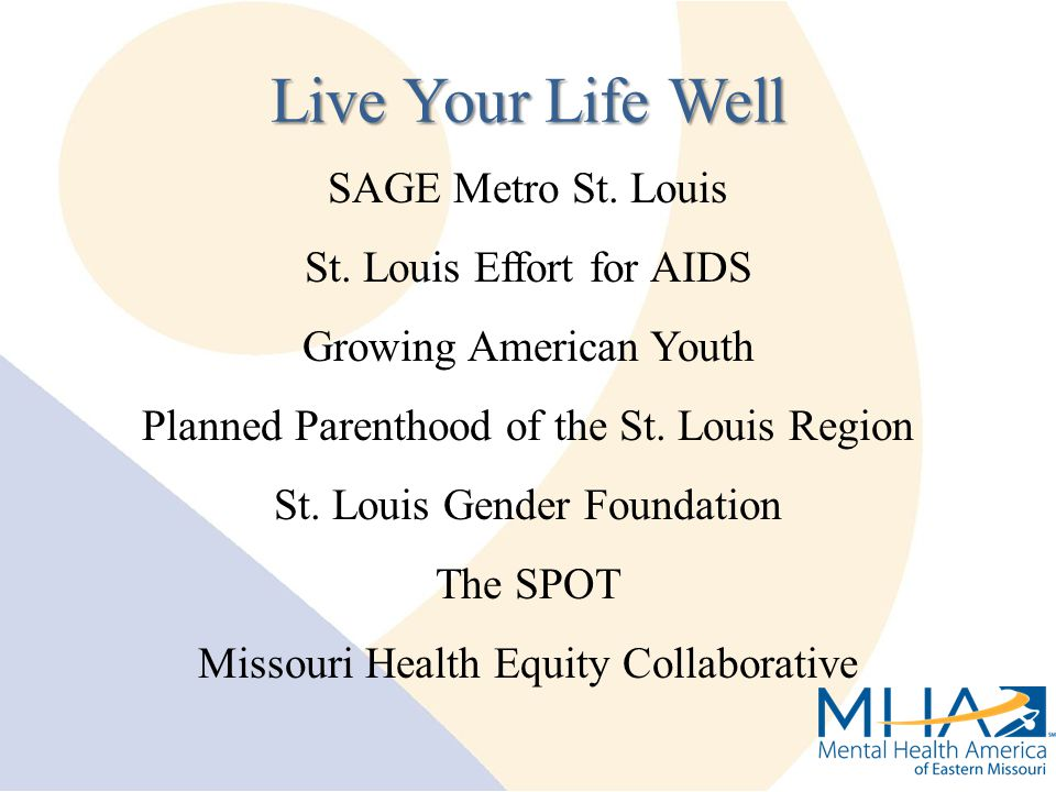 SAGE Metro St. Louis St. Louis Effort for AIDS Growing American Youth Planned Parenthood of the St. Louis Region St. Louis Gender Foundation The SPOT