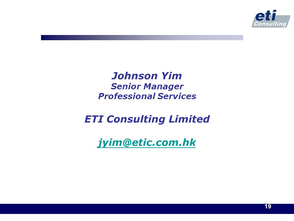 19 Johnson Yim Senior Manager Professional Services ETI Consulting Limited