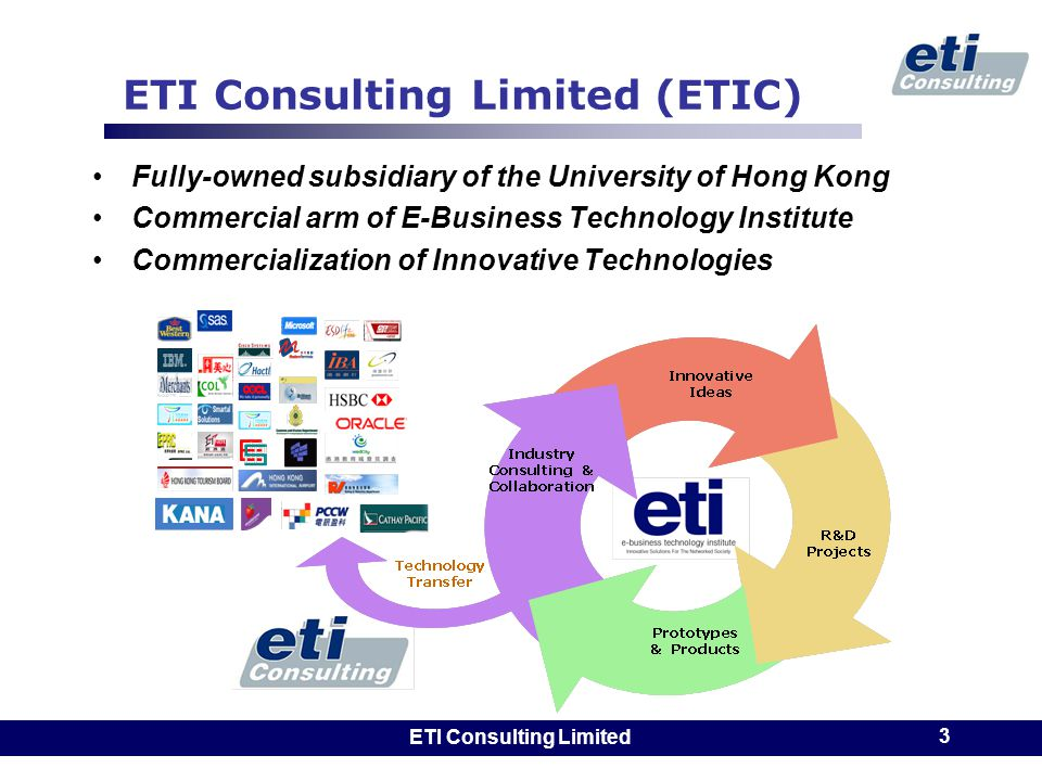 ETI Consulting Limited 3 ETI Consulting Limited (ETIC) Fully-owned subsidiary of the University of Hong Kong Commercial arm of E-Business Technology Institute Commercialization of Innovative Technologies