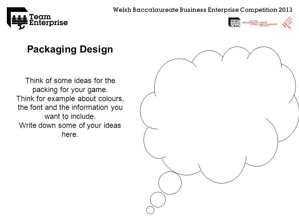Welsh Baccalaureate Business Enterprise Competition 2013 Packaging Design Think of some ideas for the packing for your game. Think for example about c