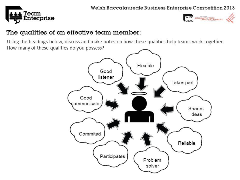 Welsh Baccalaureate Business Enterprise Competition 2013 Flexible Takes part Shares ideas Reliable Problem solver Participates Commited Good communica