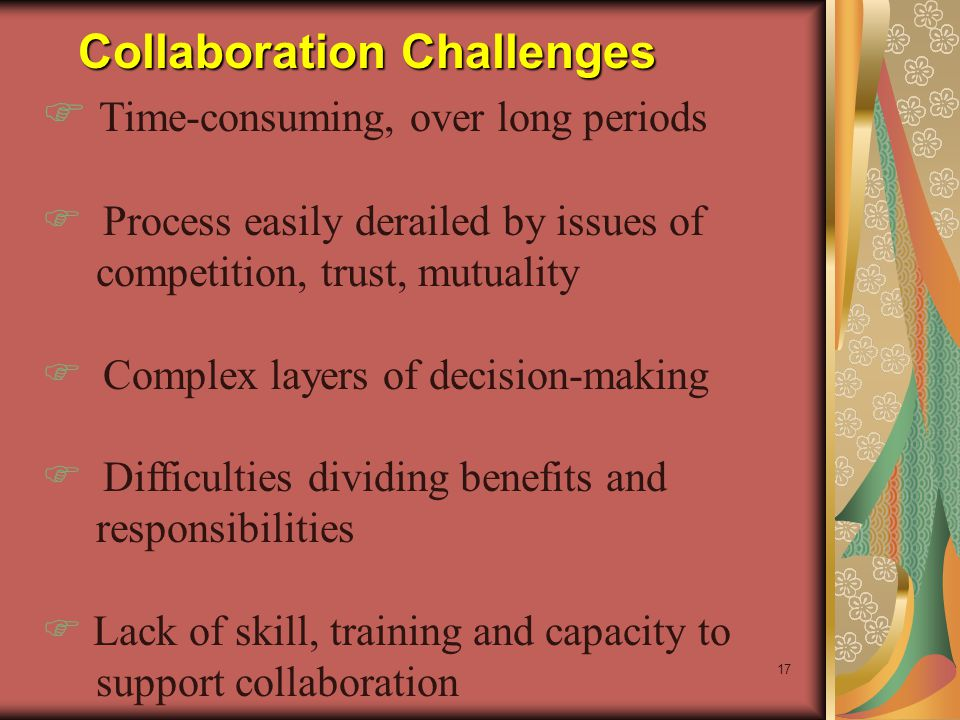 17 Collaboration Challenges F Time-consuming, over long periods F Process easily derailed by issues of competition, trust, mutuality F Complex layers of decision-making F Difficulties dividing benefits and responsibilities F Lack of skill, training and capacity to support collaboration