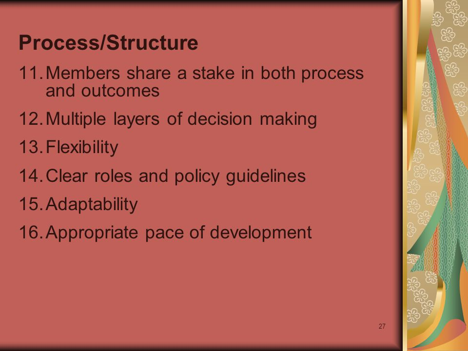 27 Process/Structure 11.Members share a stake in both process and outcomes 12.Multiple layers of decision making 13.Flexibility 14.Clear roles and policy guidelines 15.Adaptability 16.Appropriate pace of development