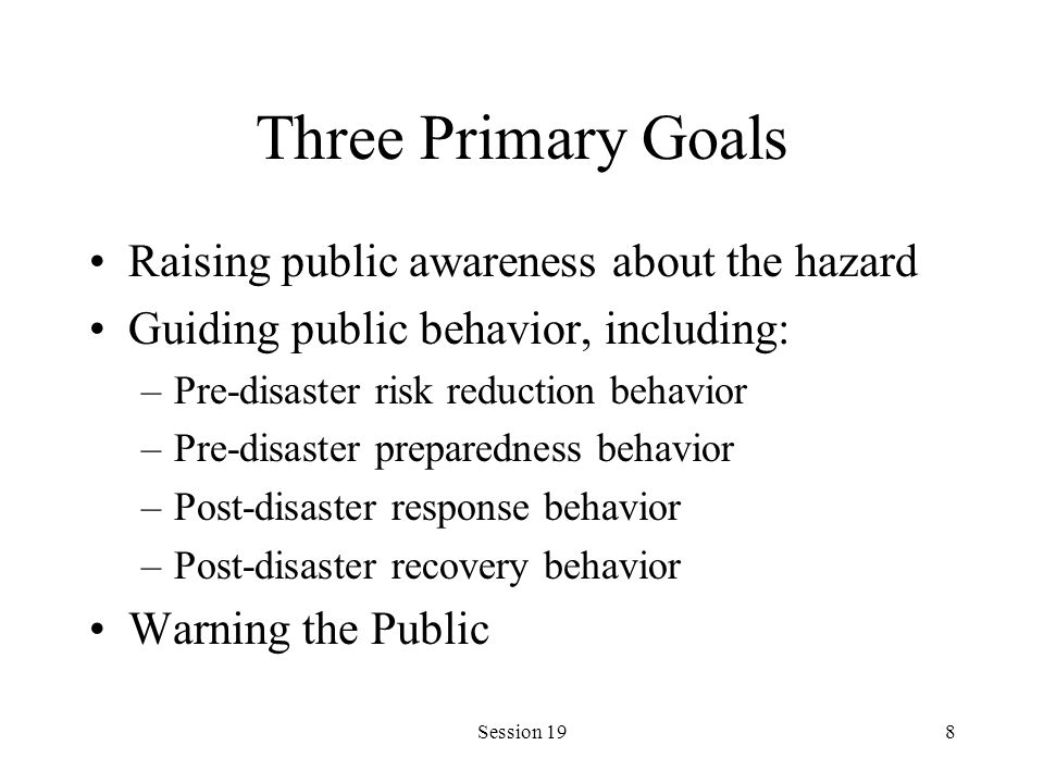 Session 198 Three Primary Goals Raising public awareness about the hazard Guiding public behavior, including: –Pre-disaster risk reduction behavior –P