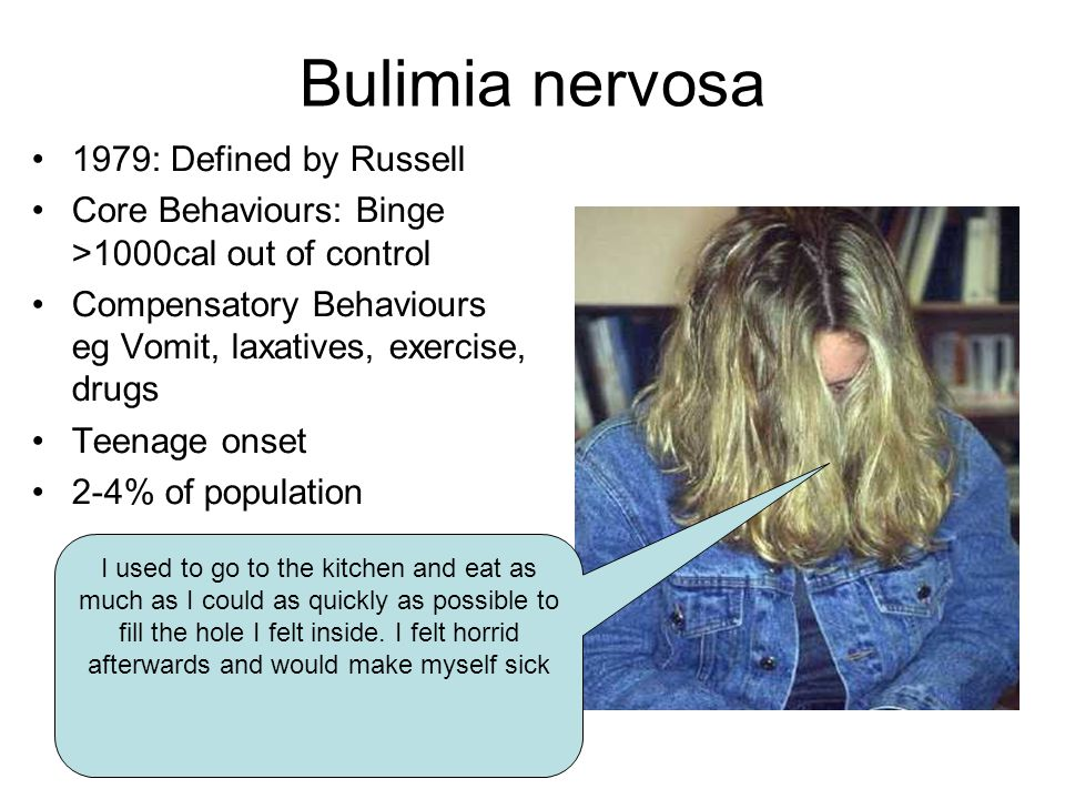 Bulimia nervosa 1979: Defined by Russell Core Behaviours: Binge >1000cal out of control Compensatory Behaviours eg Vomit, laxatives, exercise, drugs T