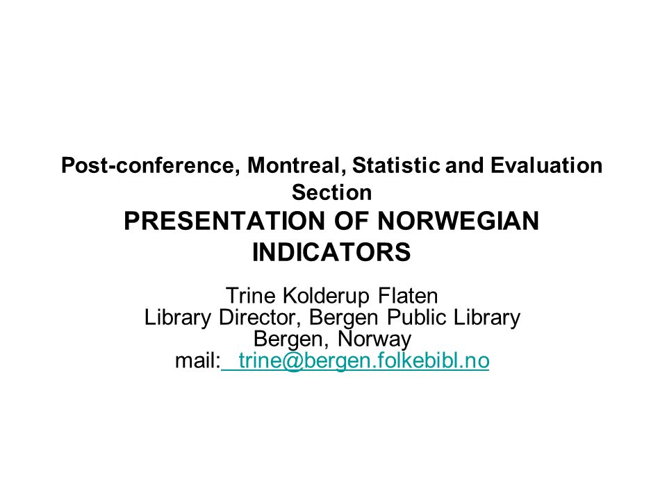 Norwegian public libraries have about 5 library-visitors per inh., but there are great regional and other disparities.