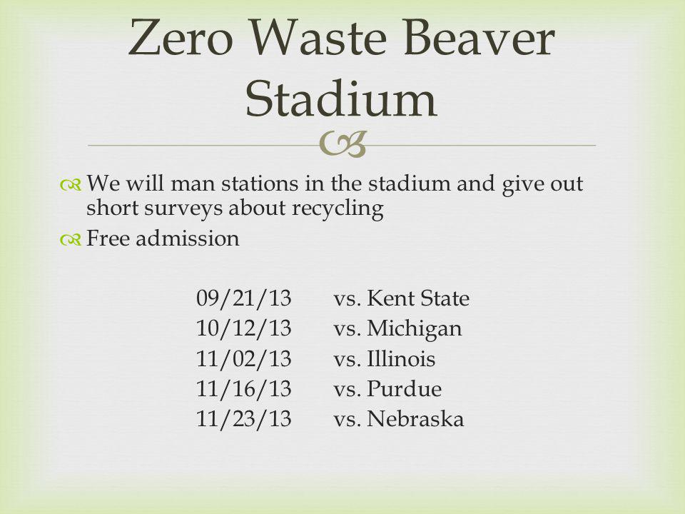 We will man stations in the stadium and give out short surveys about recycling Free admission 09/21/13vs.