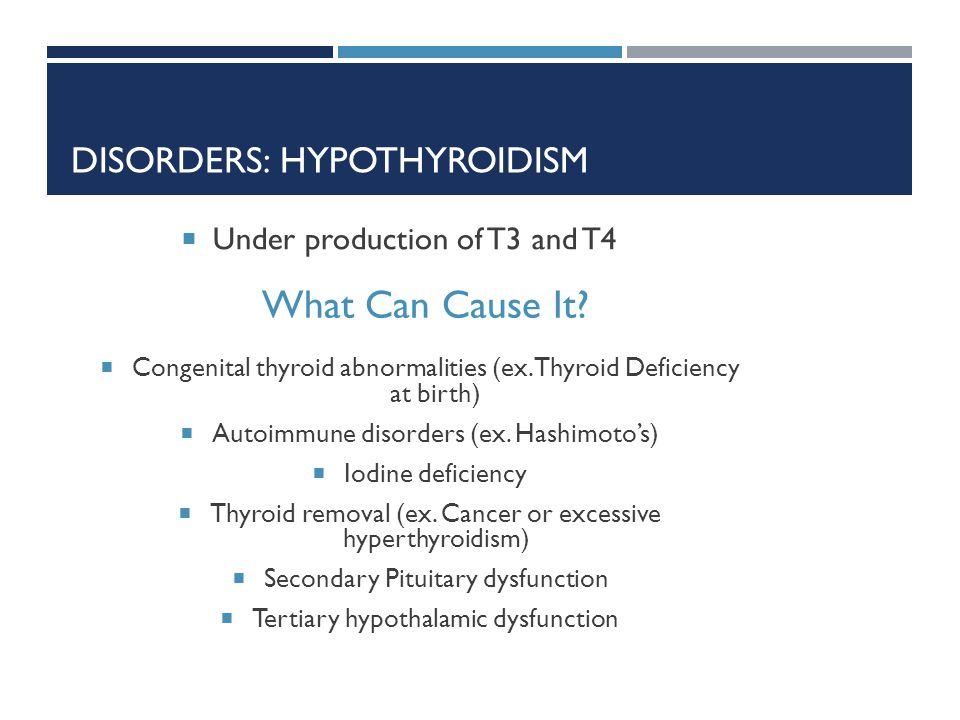 DISORDERS: HYPOTHYROIDISM Under production of T3 and T4 What Can Cause It? Congenital thyroid abnormalities (ex. Thyroid Deficiency at birth) Autoimmu