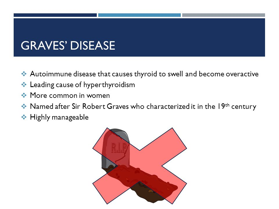 GRAVES DISEASE Autoimmune disease that causes thyroid to swell and become overactive Leading cause of hyperthyroidism More common in women Named after