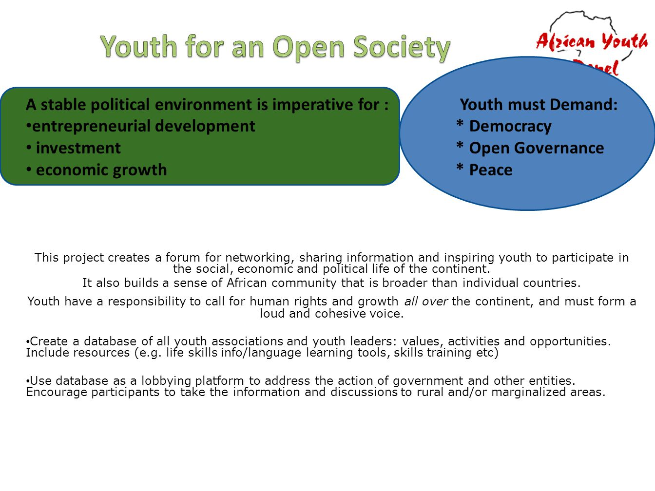 A stable political environment is imperative for : Youth must Demand: entrepreneurial development * Democracy investment * Open Governance economic growth * Peace This project creates a forum for networking, sharing information and inspiring youth to participate in the social, economic and political life of the continent.
