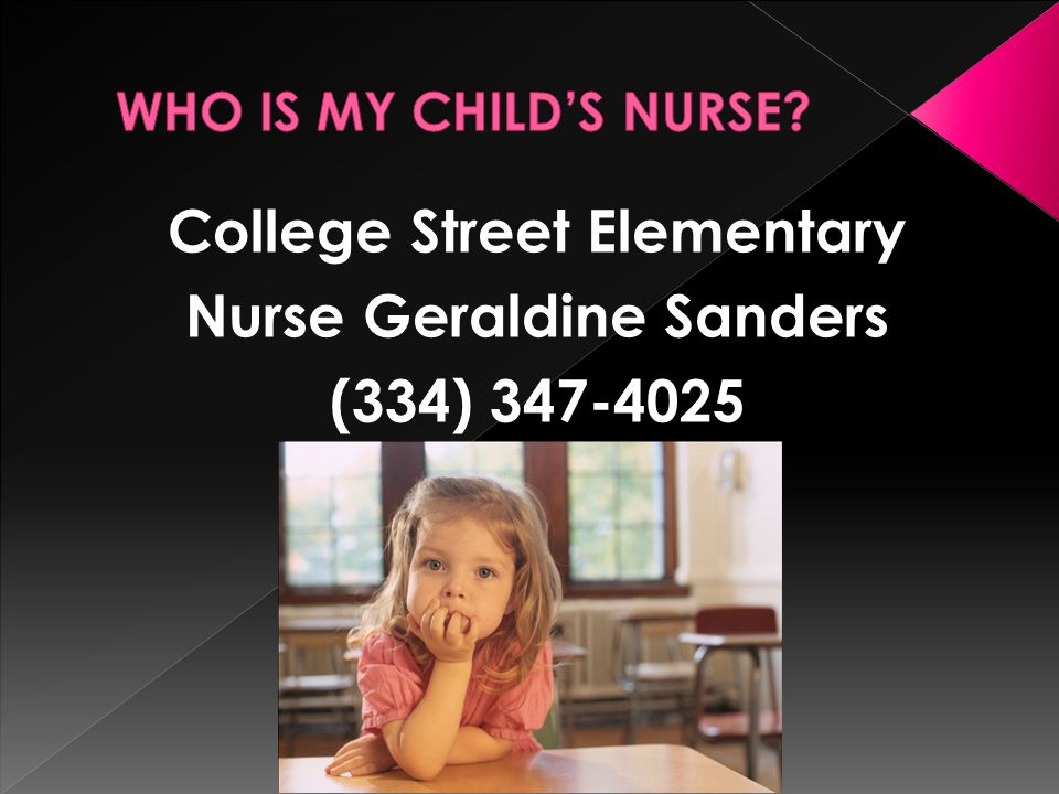 College Street Elementary Nurse Geraldine Sanders (334) 347-4025