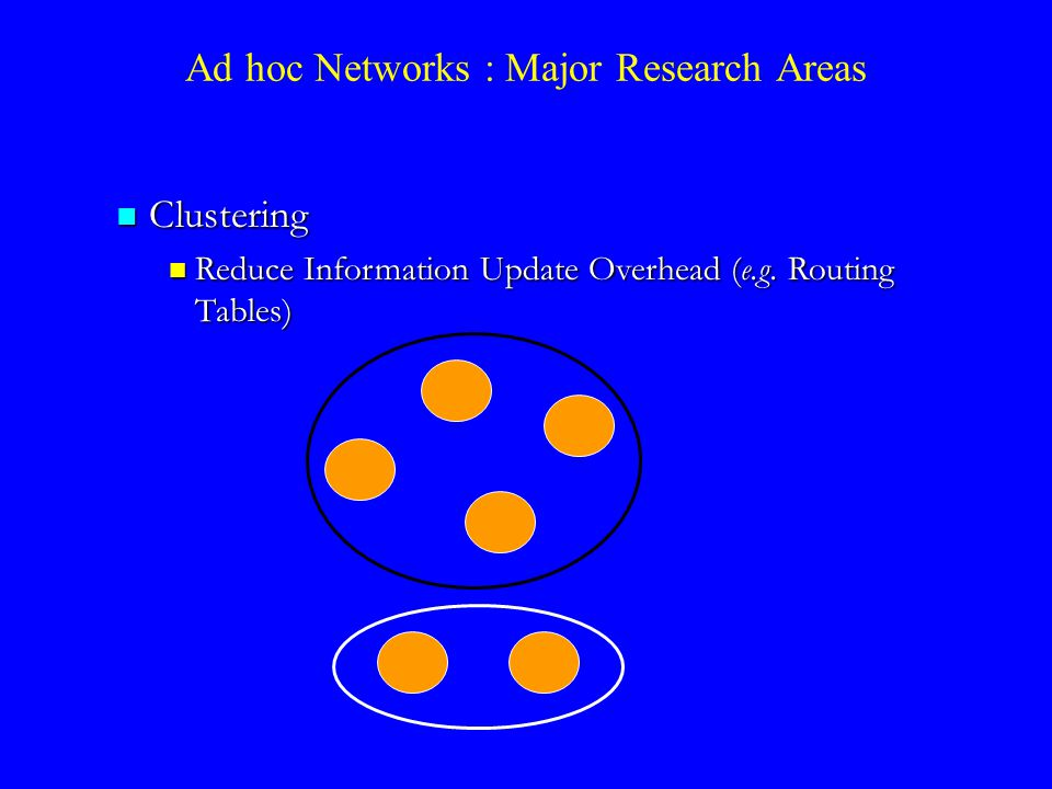 Clustering Clustering Reduce Information Update Overhead (e.g.