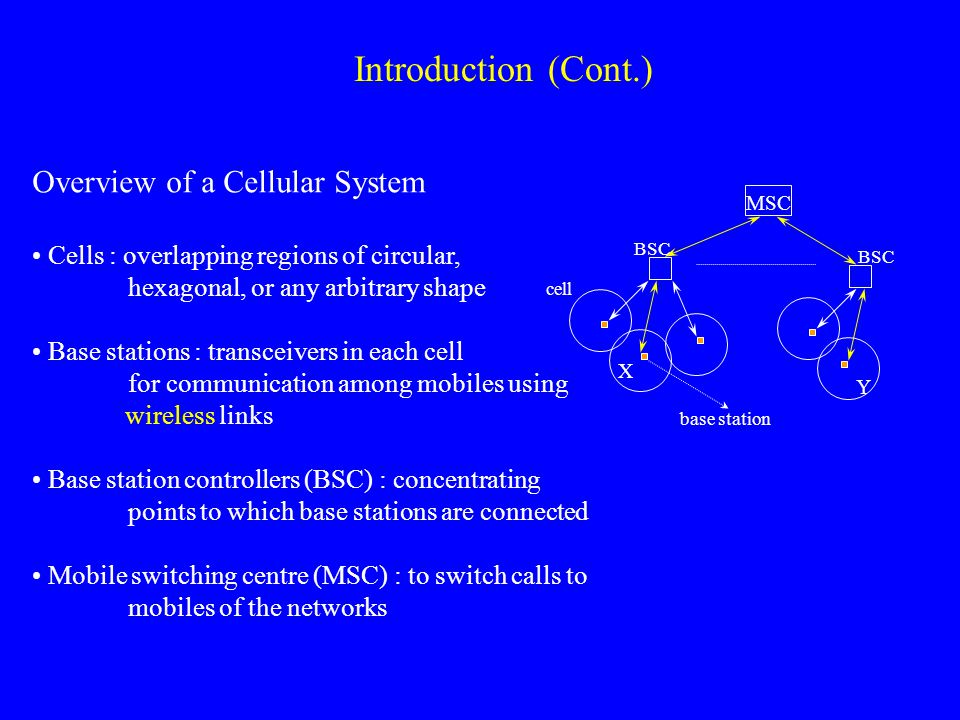 Introduction (Cont.) Overview of a Cellular System Cells : overlapping regions of circular, hexagonal, or any arbitrary shape Base stations : transceivers in each cell for communication among mobiles using wireless links Base station controllers (BSC) : concentrating points to which base stations are connected Mobile switching centre (MSC) : to switch calls to mobiles of the networks MSC BSC cell base station X Y