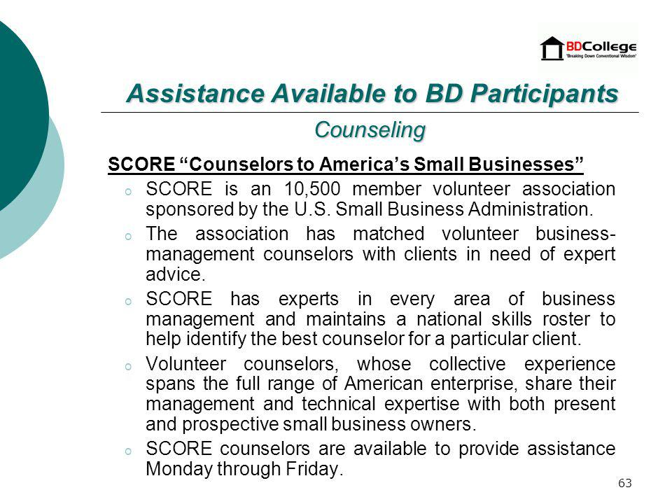 62 Finance SBA provides a number of financial assistance programs for small businesses.