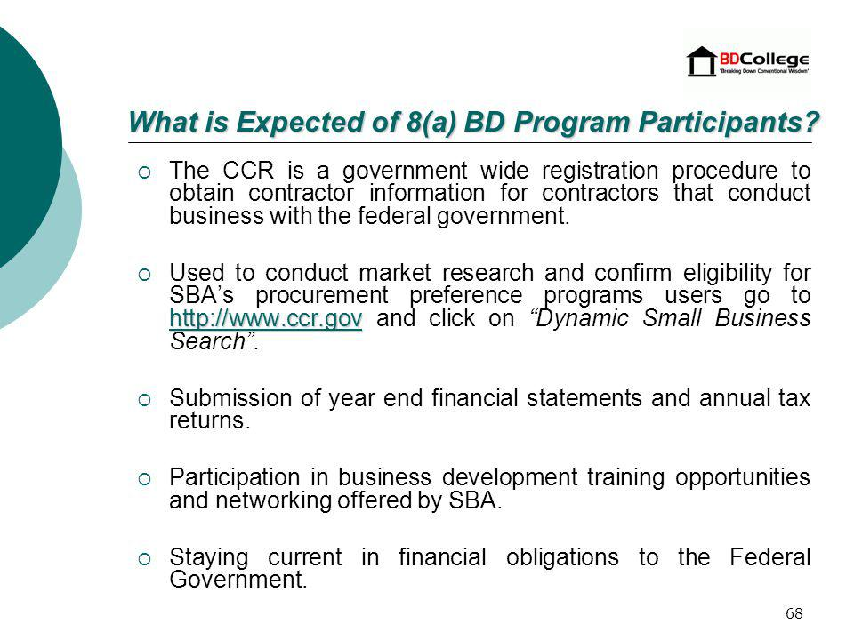 67 CCR Self marketing to federal procurement agencies.